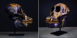 Sonny Skull Sculpture, hand-painted with gold teeth, created for his To The Bone Exhibition in New York 2018