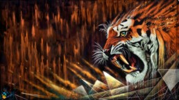 Sonny's tiger mural painted for the Street Art Museum in Amsterdam curated by Street Art Today
