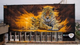 Sonny's giant amur leopard painted in Vladivostok, Russia in partnership with IFAW and Far Eastern Leopard as part of the V-Rox Festival in 2017