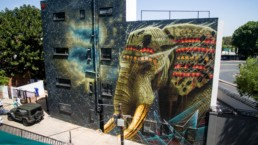 Large-scale elephant mural painted by South Africa street artist, Sonny, in Johannesburg in 2016