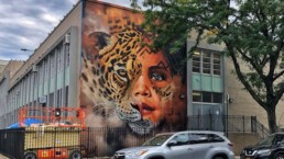 Street Art of Girl and Jaguar painted in Williamsburg, Brooklyn New York in collaboration with UNICEF, Greenpoint Innovations and Sonny as part of New York Climate Week