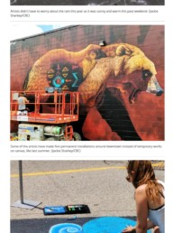 CBC News featuring Sonny's bear mural painted for Cambridge Street Art Festival