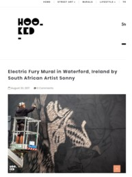 Hooked Article on Sonny's Electric Fury Mural painted at Waterford Walls in Ireland