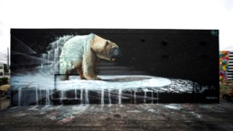 Polar bear mural in Wynwood, Miami painted by Sonny during Art Basel week in 2017, in collaboration with Basel House Festival