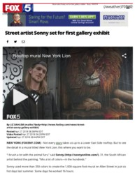 Fox5 News Article on Sonny's New York Lion and To The Bone Exhibition