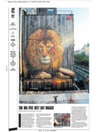 Sunday Times Newspaper article about Sonny's Lion mural in NYC and his launch of his To The Bone Project