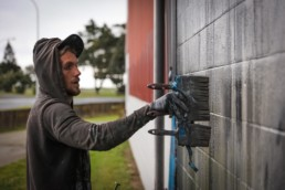 Sonny Street Art mural of humpback whale, painted in Gisborne, New Zealand for Sea Walls in partnership with Pangeaseed Foundation