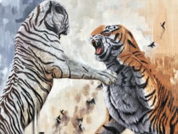 Close up of Sonny's tiger street art mural painted during Art Basel Miami, for aWalls Mural Project in Wynwood