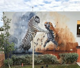 Sonny's tiger street art mural painted during Art Basel Miami, for aWalls Mural Project in Wynwood