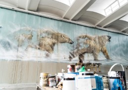 Polar bear mural painted by Sonny in Pisa, Italy to make a statement of hope with regards to climate change