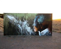 Mural of Nelson Mandela and doves painted by Sonny for the Global Citizen Mandela 100 Concert held in Johannesburg